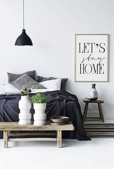 Let's stay home Printable Bedroom Poster by VisualPixie on Etsy