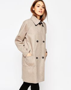 Image 1 ofASOS Coat in Cocoon Fit in Bonded Cloth
