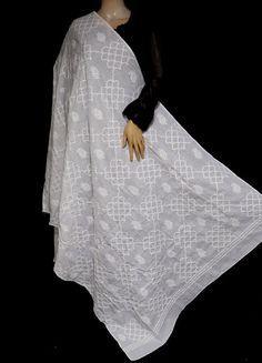 ISHIEQA's White Cotton Chikankari Dupatta - MV1503D White Chiffon, White Cotton, Types Of Stitches, Black B, Thread Work, White Fabrics, Kurti, Hand Embroidery, Kimono Top