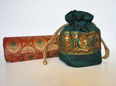 Green Drawstring purse by KoloredKarma on Etsy, $30.00