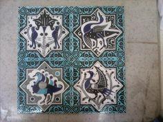40x40cm seljuk adaptation of birds ceramic panel  hadmade by Meral