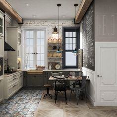 Everything is 'just right' about this industrial chic kitchen. Interior Design Living Room, Modern Interior, French Interior, Industrial Chic Kitchen, Industrial Loft, Sweet Home, Kitchen Cabinet Styles, Inspiration Design, Cuisines Design