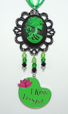 Gothic Lolita Necklace with Czech Crystals, I Kiss Frogs - Strung On Triple Green Ribbon