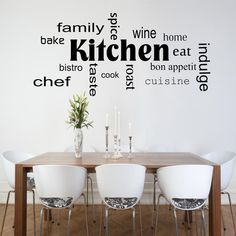 Kitchen Words Phrases Wall Art Sticker Room Lounge by GlitterBlast