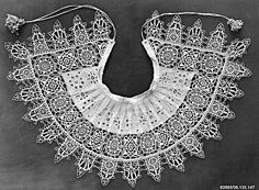 Standing band (collar) with tassels. cutwork, needle lace and embroidery. Possibly French, ca. The Metropolitan Museum of Art 17th Century Clothing, 17th Century Fashion, Needle Lace, Bobbin Lace, Antique Lace, Vintage Lace, Le Bourgeois Gentilhomme, Types Of Lace, Collars For Women
