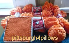 6 - Aunt Lydia's Rug Yarn - Tangerine - 315 - Plus Extra's - 1.60 Ozs. - 100% Polyester - 70 Yards - See Description by pittsburgh4pillows on Etsy