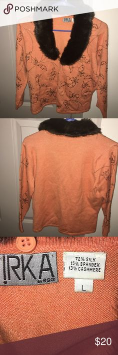 Faux fur collar sweater Faux fur collar beaded and stitched sweater. Size large. Sweaters Cardigans