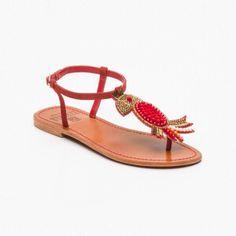 Sandalias, cuero Rojo y dorado