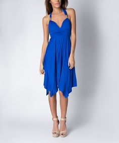 This Paradise USA Fashion Royal Blue Keyhole-Back Handkerchief Dress by Paradise USA Fashion is perfect! #zulilyfinds