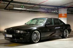 BMW E38 7 series black deep dish