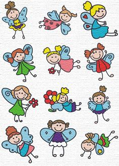 free embroidery designs  little angel girls set