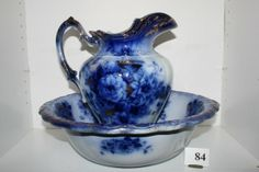 Flow Blue Pitcher and Bowl | 84: Flow Blue Bowl & Pitcher Set
