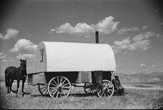 Sheepherder's wagon. First saw one of these in Wyoming in 1948 on a trip with my parents.  It was the real thing, a Basque sheepherder living in it while his flock of sheep grazed in the Medicine Bow Mountains. Have loved them ever since.