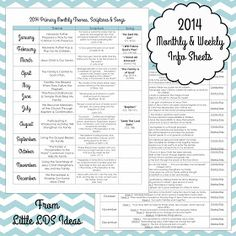 Little LDS Ideas: {Primary} 2014 Monthly & Weekly Info Sheets
