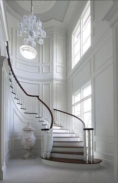#French #Entryway French Entryway. Unbelievable white entry foyer and curved staircase, fabulous trim: