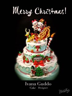 mickey mouse and minnie christmas cake
