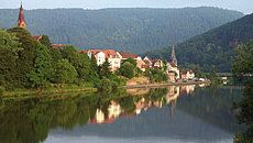 The town of Neckargemünd is situated at a distance of 10 km from the city of Heidelberg, upstream in the Neckar valley and in the middle of a vacation area which is part of the Neckar-Odenwald forest national park.