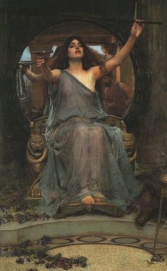 * John William Waterhouse - 1891 Circe overhandigt de beker aan Odysseus *  Circe the daughter of the sun god Helios, according to classical mythology possessed magical powers. She could change into animals and humans had, according to John Milton in his poem Comus in 1634 wrote the habit of men who molest be turned into pigs.