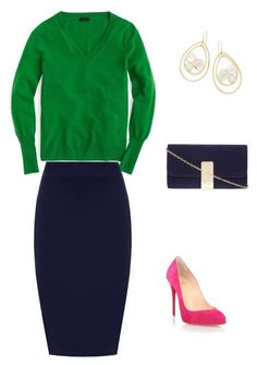 Designer Clothes, Shoes & Bags for Women Size Clothing, Plus Size Outfits, Christian Louboutin, J Crew, Green, Polyvore, Pink, Stuff To Buy, Shopping