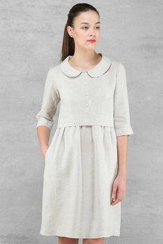 Leinenkleid Licht natürliche Leinen Farbe Kleid für Frauen