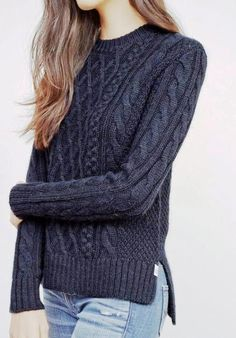 Sweaters for women- the stylish collection sweaters for women chic solid color round collar twist wave side slit pullover sweater for urpwvgg Diy Pullover, Pullover Sweaters, Sweater Cardigan, Big Sweater, Cable Sweater, Black Cardigan, Long Cardigan, Mode Style, Wool Sweaters