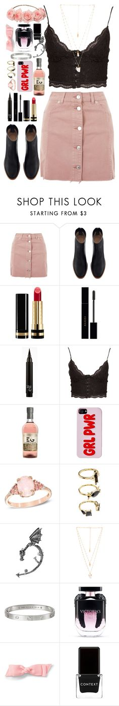 """""""you're cute when you're drunk"""" by semmaos ❤ liked on Polyvore featuring Topshop, Gucci, NLY Trend, Noir Jewelry, Bling Jewelry, Natalie B, Cartier, Victoria's Secret and Context"""