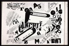 Marinetti (Zang Tumb Tumb, interior libro,1914) Utiliza métodos tipograficos expressivos que combinam o som da poesia com o ritmo visual; está presente o amor pela máquina e violência. A sua linguagem é directa e brusca.