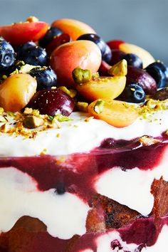 Layers of blueberry pound cake, grapefruit custard and stewed cherries make for the prettiest and tastiest summer trifle—perfect for feeding a crowd.