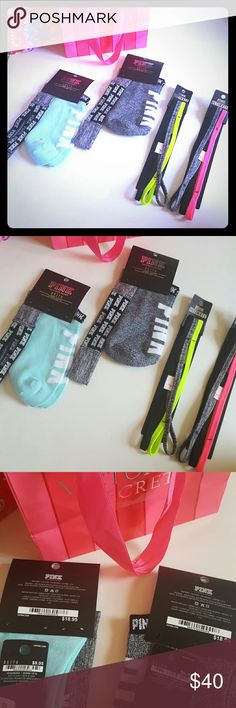 New! PINK gift bundle! Socks and headbands! New with tags! 2 pairs of socks and 4 headbands total! Perfect for gifts!  Bundle using the bundle feature and save! PINK Victoria's Secret Accessories