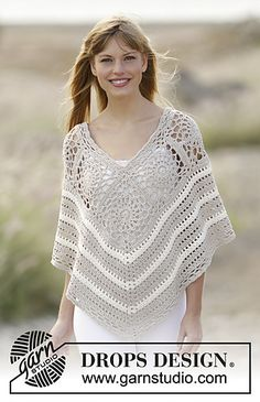 FREE CROCHET PATTERN from Drops for this cute spring poncho