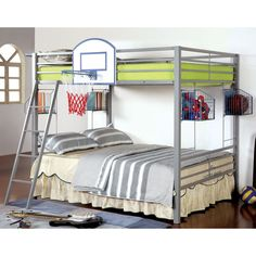 Nurture a love for sports with this athletic-inspired bunk bed. The silver finished metal construction allows the full/full design to stand sturdily while accenting the soccer or basketball decor.