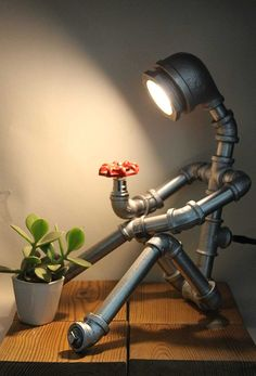 Steampunk Humanoid Robot Table Lamp – S… - Modern Industrial Design Furniture, Vintage Industrial Furniture, Pipe Furniture, Furniture Design, Industrial Bedroom Decor, Painted Furniture, Furniture Buyers, Victorian Furniture, Furniture Removal