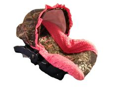 Custom hunting camo and pink infant car seat by sewpreciousbaby, $80.00