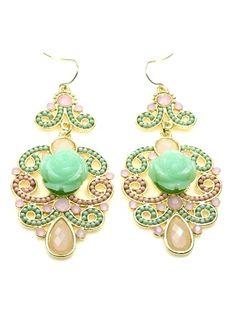 Groene oorbellen met roze kralen (hanger)