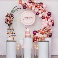 40 Best Baby Shower Ideas To Celebrate Mother Candidate 2019 - The world's most private search engine 3 Tier Birthday Cake, Dessert Table Birthday, Birthday Desserts, Gold Birthday, Birthday Balloons, Dessert Tables, 25th Birthday Parties, Birthday Party Decorations, Balloon Decorations