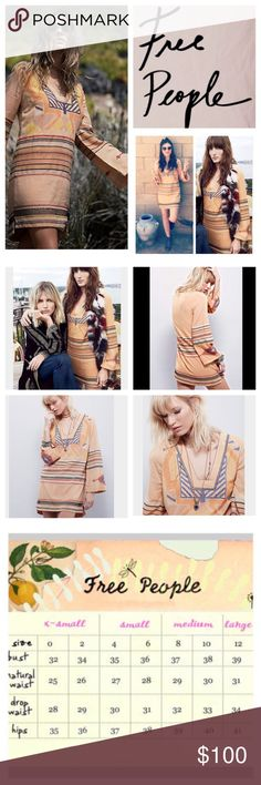 "Free People Sundown Embroidered Mini Dress.  NWT. Free People Sunset Combo Sundown Embroidered Mini Dress, 55% viscose, 45% cotton, machine washable, 19"" armpit to armpit (38"" all around), 16"" arm inseam, 32.5"" front length, 34"" back length, 3"" side slits, inspired shift mini dress featuring allover embroidery detailing with stripe accents, square neckline, bell sleeves, lined, slight high low hem, side slits, measurements are approx.  NO TRADES Free People Dresses Mini"