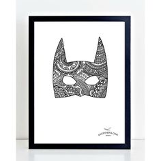 A wickedly ornate batman mask.. now you are talking my style! its like a tattoo piece except not so permanent.. To find the modern batman on our website search 'maybe i am batman' on dtll.com.au (link in profile). #dtll #downthatlittlelane #batman #art #d