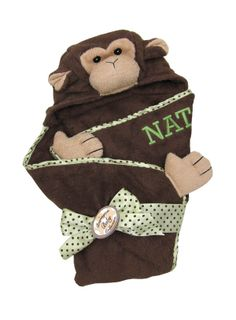 Wrap your little monkey in a #personalized hooded towel from Bearington Bear and embroidered by www.namelynewborns.com $25.95
