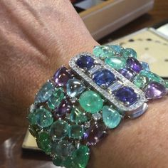 Wonderful young summer colours in this Boucheron bracelet @christiesjewels @christiesinc @boucheron @emmabeckettpr #tourmaline #sapphires #diamonds #emeralds #auction June 15th