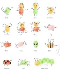 Una original idea para pasar una tarde divertida con tus peques. Sólo necesitas un poco de tinta, poner sus huellas sobre un papel y luego convertirlas en divertidos animales o figuras con un poco de imaganación :) #diy #handmade #creatividad