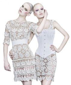 Vanessa Montoro apresenta vestidos de crochê couture em trunk show