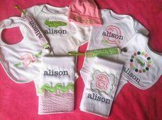Preppy Alligator Baby Girl Ultimate Set 2 Onesies 2 by MaddieBugs,