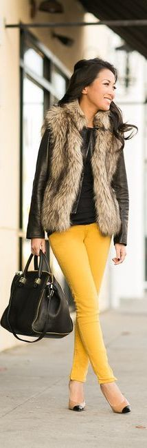 How to wear a fur vest! Be bold this season and pair your fur vests with a pop of color! Not only is this style chic for any occasion, but this vest can dress up a simple pair of colored jeans a basic top in an instant!