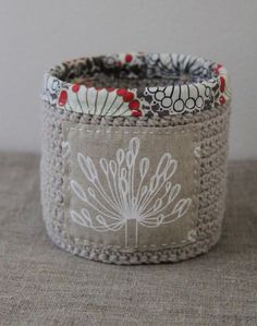 Crochet basket w/ fabric