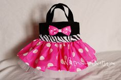 Pink Zebra Minnie Mouse Tote Bag by WhitneyBoutique on Etsy Red Polka Dot Skirt, Pink Polka Dots, Toddler Pageant, Kids Apron, Pink Zebra, Black Tote, Goodie Bags, Little Princess, Diy For Kids