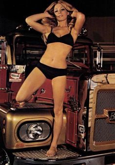 Miss Susan Charles, The Editor's Choice w/ beautiful Brockway heavy duty truck. Semi Trucks, Big Trucks, 10 4 Good Buddy, Diesel Cars, Trucks And Girls, Truck Accessories, Good Ol, Bikinis, Swimwear