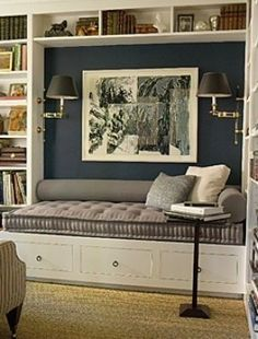 Family Room / Living Room - Built in seating. Love the shelving around the bench and reading lamps - very cozy. Ideas Decorar Habitacion, Home Interior, Interior Design, Interior Ideas, Built In Seating, Office Seating, Lounge Seating, Built In Bench, Office Lounge