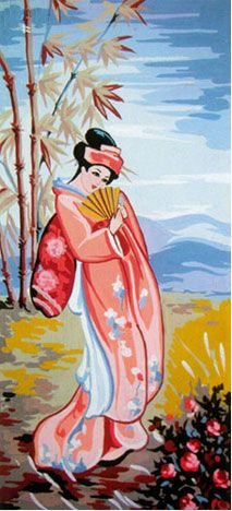 Needle Graphics Needlepoint   GEISHA WITH A FAN NEEDLEPOINT CANVAS :: COLLECTION D'ART NEW :: NEW ...