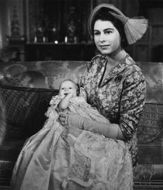 The Queen while still the Duchess of Edinburgh at the christening of Princess Anne in 1950