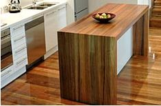 Fays Glulam Timber Benchtops for Kitchen Renovations & Bathroom Renovations - Dale Glass Industries Wooden Kitchen Bench, Timber Kitchen, Rustic Bench, Kitchen Flooring, Wood Desk, Kitchen Layout, Kitchen Design, Timber Benchtop, Wooden Island
